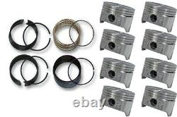 67-95 Fits Chevrolet GMC SBC 350 5.7L V8 8 FlaT Top Pistons & Moly Rings 101 CR