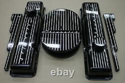 Black Chevrolet Powder Coated Small Block Stock Height Valve Cover Set