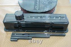 Chevrolet Flag Finned Design Tall Valve Cover 14 Air Cleaner Breather PCV Set