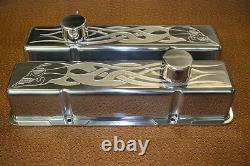 Chevrolet Skull Flames SB Tall Valve Covers Breathers PCV Chevy 350 383 400 283