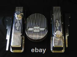 Chevy Small Block Bow Tie Finned Tall Aluminum Valve Covers Only No Paint