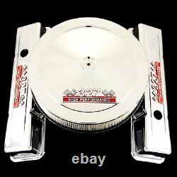 Chrome Factory Height Valve Covers and Air Cleaner Combo Fits 327 Chevy Engines