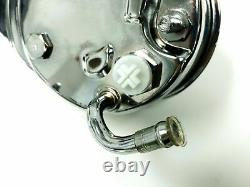 Chrome Saginaw Power Steering Pump with Black Bracket & Pulley Kit, Fits Chevy SBC