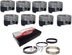 Coated Skirt Hypereutectic Flat Top Pistons with Rings for Chevrolet SBC 350 5.7L