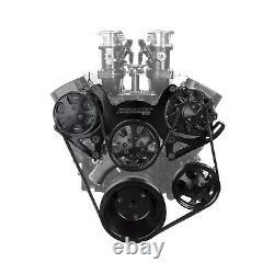Fits Chevy SBC 350 Aluminum Complete Serpentine Belt Drive System Kit Black