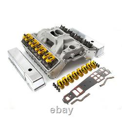 Fits Chevy SBC 350 Angle Plug Solid FT Cylinder Head Top End Engine Combo Kit