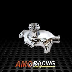High Volume Chrome Aluminum Short Water Pump Fits Small Block Chevy 283 327 350