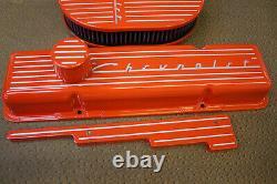 Hugger Orange Chevrolet Powder Coated Small Block Stock Height Tall Valve Cover