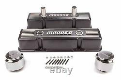 Moroso 68371 Tall Valve Covers Black Epoxy Aluminum SBC Fits Small Block Chevy