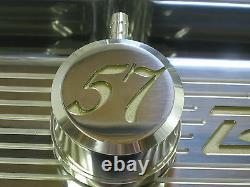 New 1957 BelAir Chevy Small Block Stock Height Valve Cover Billet Aluminum Set
