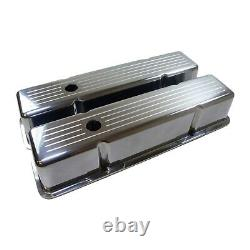 Polished Aluminum Tall Valve Covers Fits Small Block Chevy Ball Milled