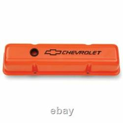 Proform 141-784 Engine Valve Covers Stamped Steel Tall Orange Fits SB Chevy NEW