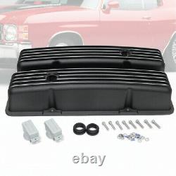 Retro Finned Black Aluminum Tall Valve Covers Fit 58-86 SBC Chevy 350 327 400