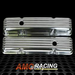 Retro Finned Polished Aluminum Tall Valve Covers Fit 58-86 SBC Chevy 350 327 400