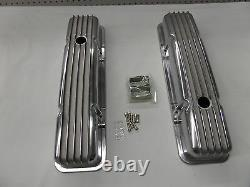 SBC Finned Polished Aluminum Valve Covers Short Fits Sb Chevy 327 350 383 400
