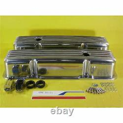 SBC Finned Polished Aluminum Valve Covers Tall Fits Sb Chevy 283 327 350 383 400