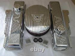 V8 Chevy Small Block Valve Covers 12 Oval Air Cleaner K&N filter Breather PCV