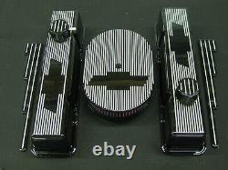 Black Powder Coated Ghost Tie Chevy Small Block Tall Valve Cover Set