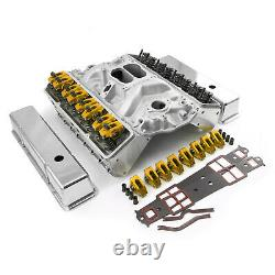 Convient Chevy Sbc 350 Angle Plug Hyd Ft Cylinder Head Top End Engine Combo Kit