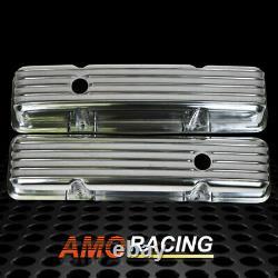 Rétro Finned Polonais En Aluminium Tall Valve Covers Fit 58-86 Sbc Chevy 350 327 400