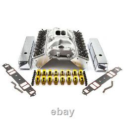 S'adapte Chevy Sbc 350 Angle Plug Solid Ft Cylinder Head Top End Engine Combo Kit