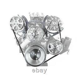 S'adapte Chevy Sbc 350 Billet Aluminium Complete Serpentine Engine Pulley Set